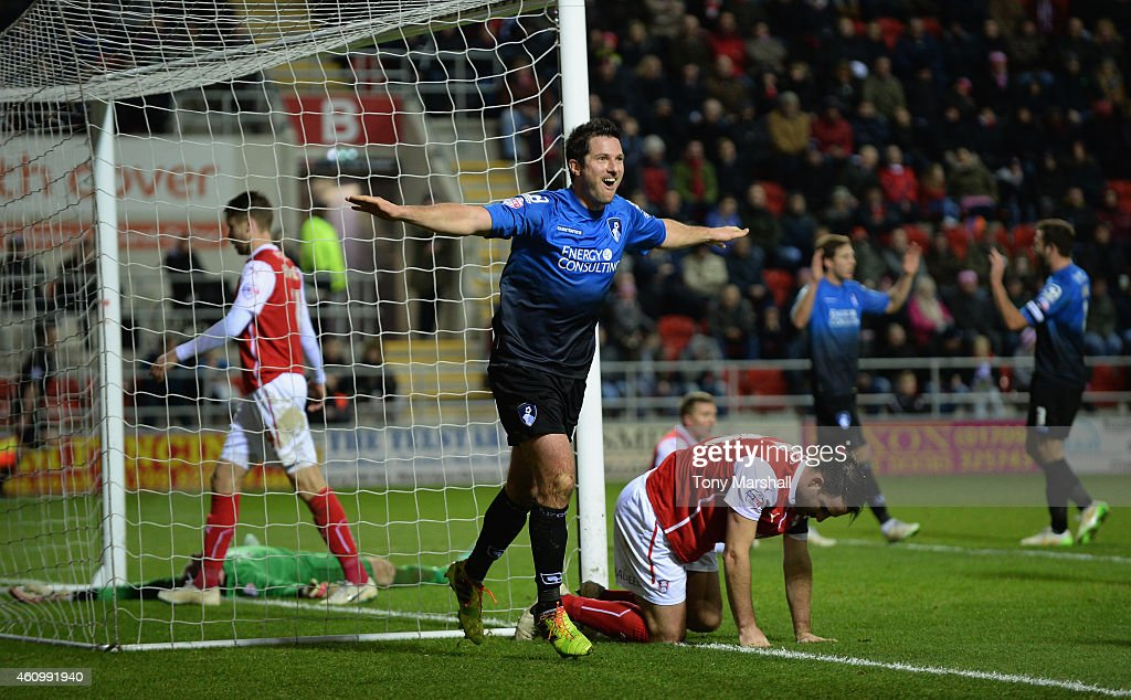 Yann Kermorgant of Bournemouth celebrates after scoring their fifth goal during the FA Cup Third Round match between Rotherham United and Bournemouth at The New York Stadium on January 3, 2015 in Rotherham, England.