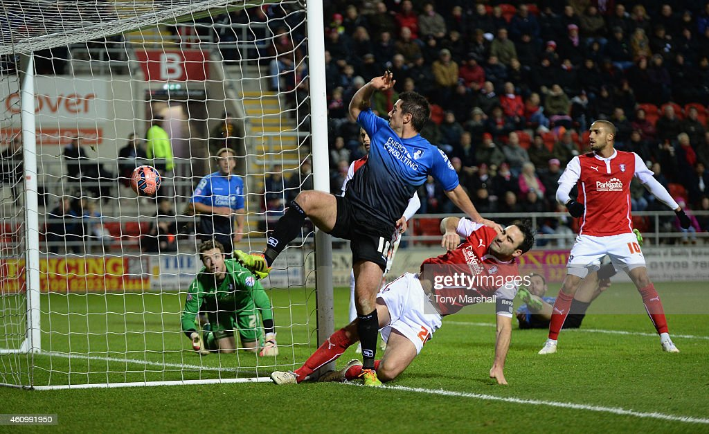 Yann Kermorgant of Bournemouth scores their fifth goal during the FA Cup Third Round match between Rotherham United and Bournemouth at The New York Stadium on January 3, 2015 in Rotherham, England.