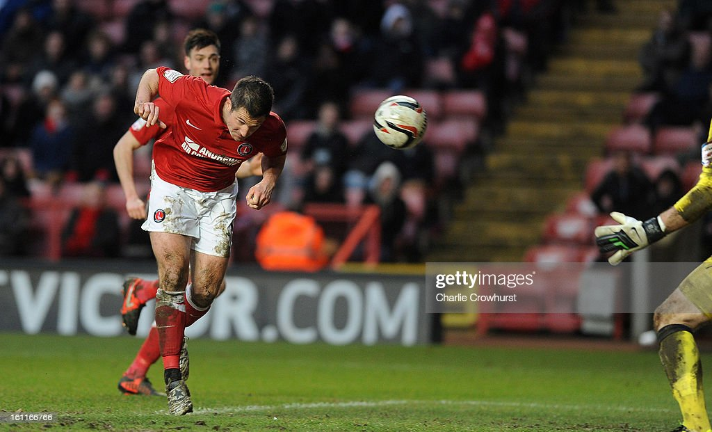 Yann Kermorgant of Charlton scores the teams first goal during the npower Championship match between Charlton Athletic and Birmingham City at The Valley on February 09, 2013 in London England.