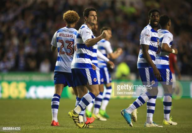 Yann Kermorgant of Reading celebrates scoring his sides first goal during the Sky Bet Championship Play Off Second Leg match between Reading and...