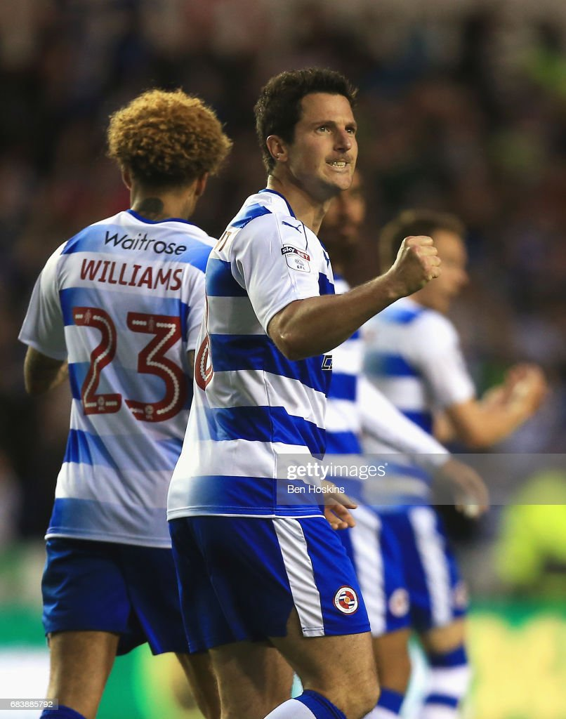 Yann Kermorgant of Reading celebrates scoring his sides first goal during the Sky Bet Championship Play Off Second Leg match between Reading and Fulham at Madejski Stadium on May 16, 2017 in Reading, England.