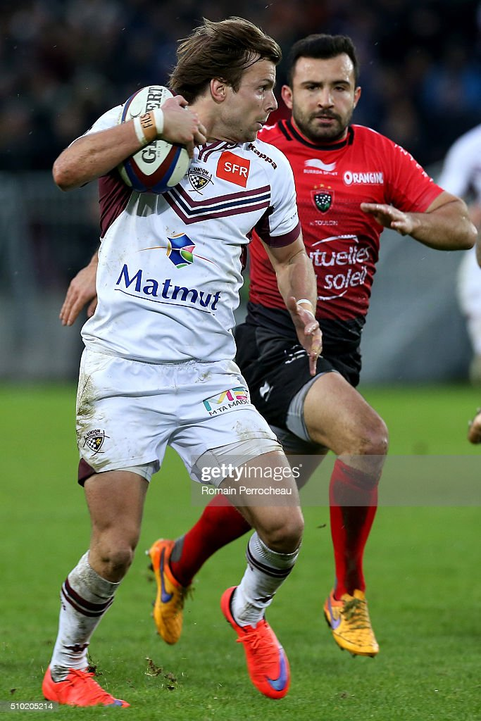 Yann Lesgourgues of Union Bordeaux Begles in action during the Top 14 rugby match between Union Bordeaux Begles and RC Toulon at Stade Matmut Atlantique on February 14, 2016 in Bordeaux, France.