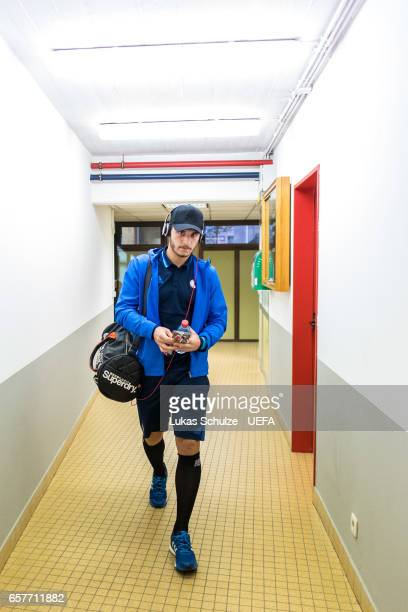 Yann Matias Marques of Luxembourg arrives prior to the FIFA 2018 World Cup Qualifier between Luxembourg and France at Stade Josy Barthel on March 25...