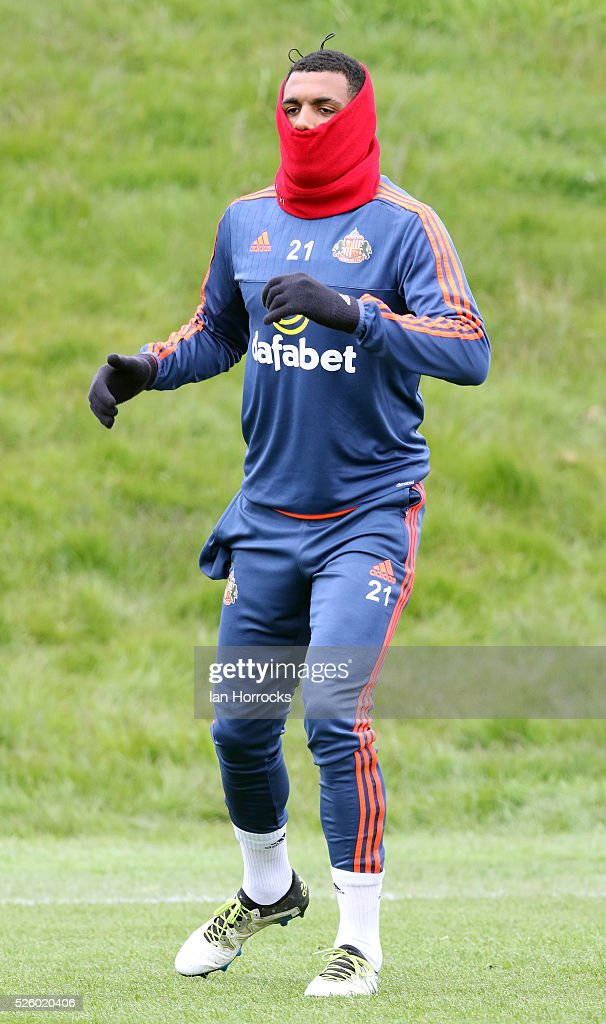 Yann M'Vila during a Sunderland AFC training session at The Academy of Light on April 29, 2016 in Sunderland, England.