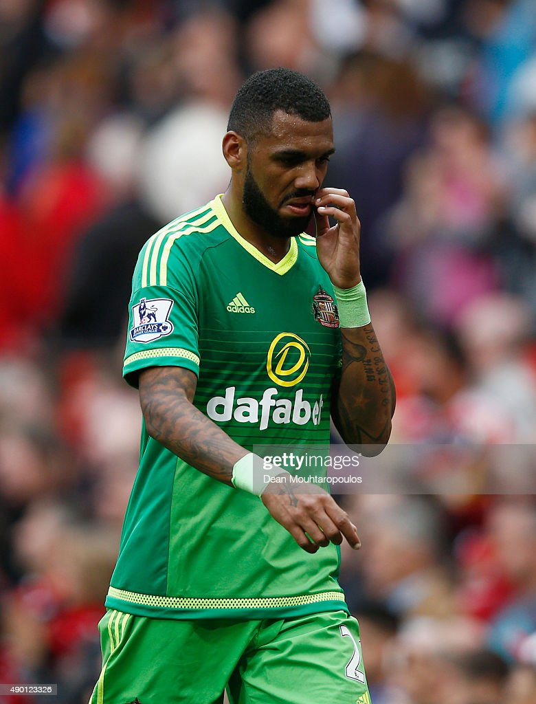 <a gi-track='captionPersonalityLinkClicked' href=/galleries/search?phrase=Yann+M%27Vila&family=editorial&specificpeople=6130765 ng-click='$event.stopPropagation()'>Yann M'Vila</a> of Sunderland reacts after his team's 0-3 defeat in the Barclays Premier League match between Manchester United and Sunderland at Old Trafford on September 26, 2015 in Manchester, United Kingdom.