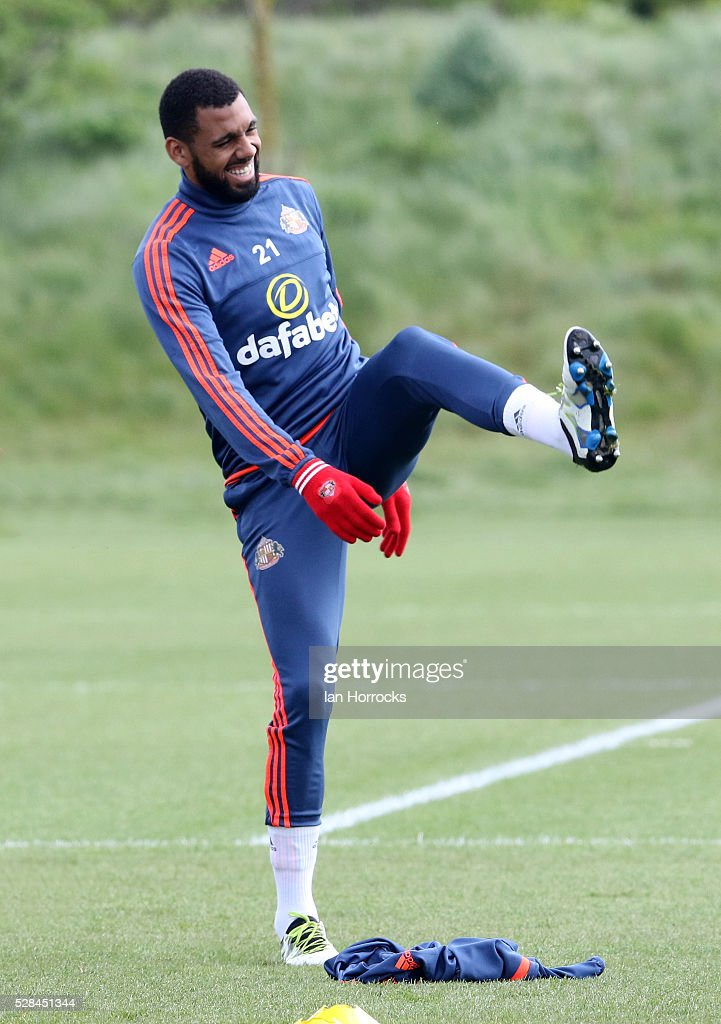 Yann M'Vila warms up during a Sunderland training session at The Academy of Light on May 5, 2016 in Sunderland, England.