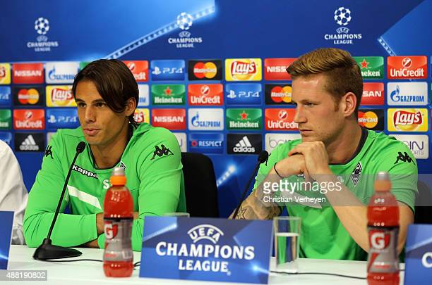 Yann Sommer and Andre Hahn of Borussia Moenchengladbach attend a press conference ahead of their UEFA Champions League match against FC Sevilla at...