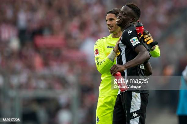 Yann Sommer and Denis Zakaria of Borussia Moenchengladbach celebrate after of the Bundesliga match between Borussia Moenchengladbach and 1 FC Koeln...