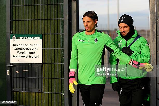Yann Sommer and Julian Korb attend a taining session ahead of the UEFA Champions League match between Borussia Moenchengladbach and Manchester City...