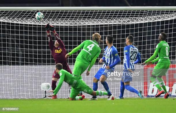 Yann Sommer Fabian Johnson Jannik Vestergaard of Borussia Moenchengladbach Vedad Ibisevic Davie Selke of Hertha BSC and Denis Zakaria of Borussia...