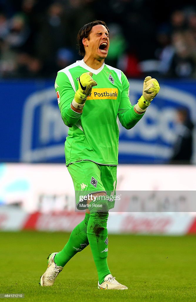<a gi-track='captionPersonalityLinkClicked' href=/galleries/search?phrase=Yann+Sommer&family=editorial&specificpeople=5781332 ng-click='$event.stopPropagation()'>Yann Sommer</a>, goalkeeper of Gladbach celebrates during the Bundesliga match between Hamburger SV and Borussia Moenchengladbach at Imtech Arena on February 22, 2015 in Hamburg, Germany.