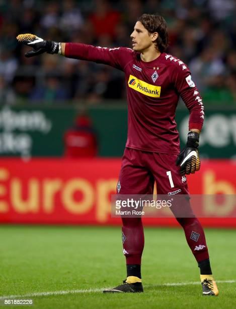 Yann Sommer goalkeeper of Moenchengladbach gestures during the Bundesliga match between SV Werder Bremen and Borussia Moenchengladbach at...