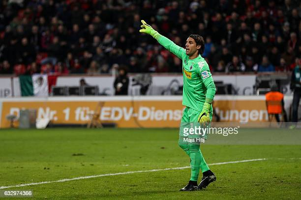 Yann Sommer goalkeeper of Moenchengladbach reacts during the Bundesliga match between Bayer 04 Leverkusen and Borussia Moenchengladbach at BayArena...