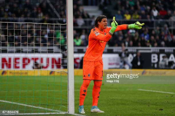 Yann Sommer goalkeeper of Moenchengladbach reacts during the Bundesliga match between Borussia Moenchengladbach and Borussia Dortmund at BorussiaPark...