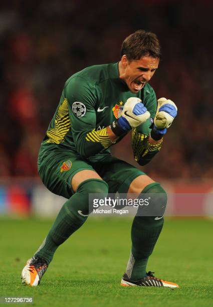 Yann Sommer of Basel celebrates as Alexander Frei scores their second goal during the UEFA Champions League Group C match between Manchester United...