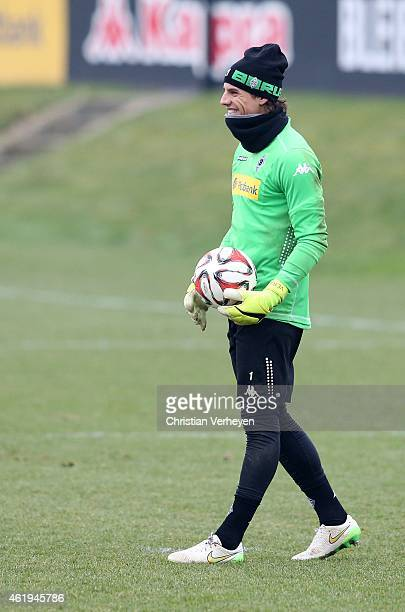 Yann Sommer of Borussia Moenchengladbach during a training session on January 20 2015 in Moenchengladbach Germany