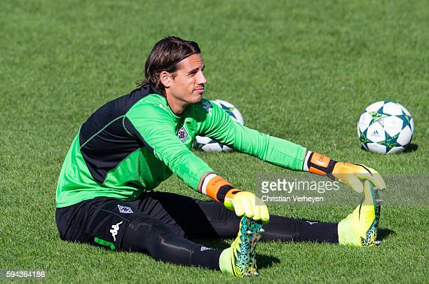Yann Sommer of Borussia Moenchengladbach during the training session of Borussia Moenchengladbach at Borussia Park on August 23 2016 in...