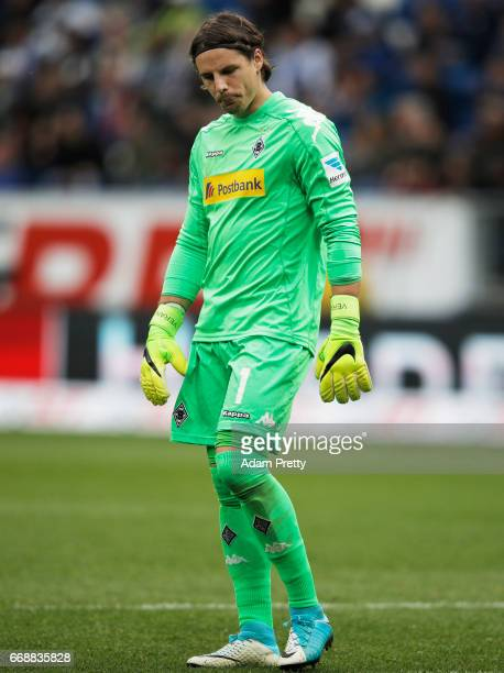Yann Sommer of Borussia Moenchengladbach is dejected during the Bundesliga match between TSG 1899 Hoffenheim and Borussia Moenchengladbach at Wirsol...
