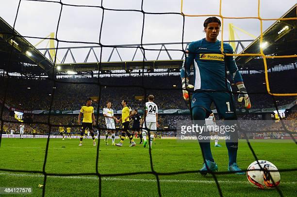 Yann Sommer of Borussia Moenchengladbach looks dejected during the Bundesliga match between Borussia Dortmund and Borussia Moenchengladbach at Signal...
