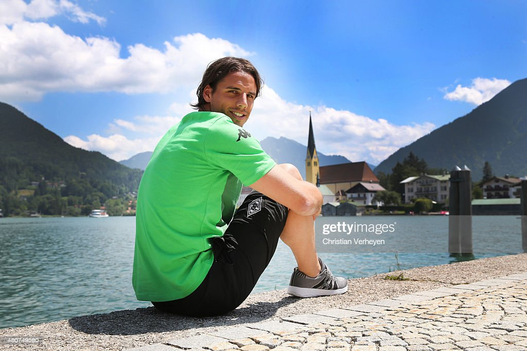 <a gi-track='captionPersonalityLinkClicked' href=/galleries/search?phrase=Yann+Sommer&family=editorial&specificpeople=5781332 ng-click='$event.stopPropagation()'>Yann Sommer</a> of Borussia Moenchengladbach poses during a portrait session at day three of Borussia Moenchengladbach training camp on July 15, 2015 in Rottach-Egern, Germany.