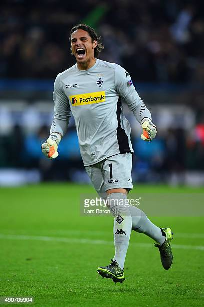 Yann Sommer of Borussia Monchengladbach celebrates the first goal during the UEFA Champions League Group D match between VfL Borussia Monchengladbach...
