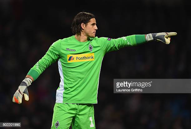 Yann Sommer of Borussia Monchengladbach in action during the UEFA Champions League match between Manchester City and VfL Borussia Monchengladbach at...
