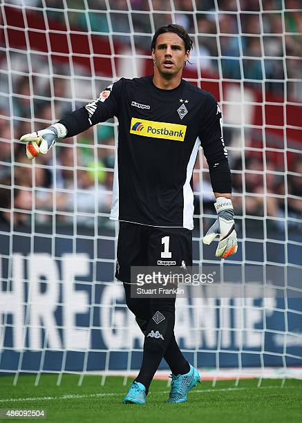 Yann Sommer of Gladbach in action during the Bundesliga match between Werder Bremen and Borussia Moenchengladbach at Weserstadion on August 30 2015...