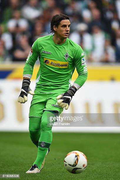 Yann Sommer of Gladbach in action during the Bundesliga match between Borussia Moenchengladbach and Hertha BSC at BorussiaPark on April 3 2016 in...