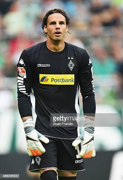 Yann Sommer of Gladbach looks on during the Bundesliga match between Werder Bremen and Borussia Moenchengladbach at Weserstadion on August 30 2015 in...