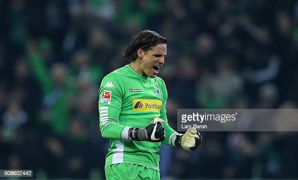 Yann Sommer of Moenchengladbach celebrates during the Bundesliga match between Borussia Moenchengladbach and Werder Bremen at BorussiaPark on...