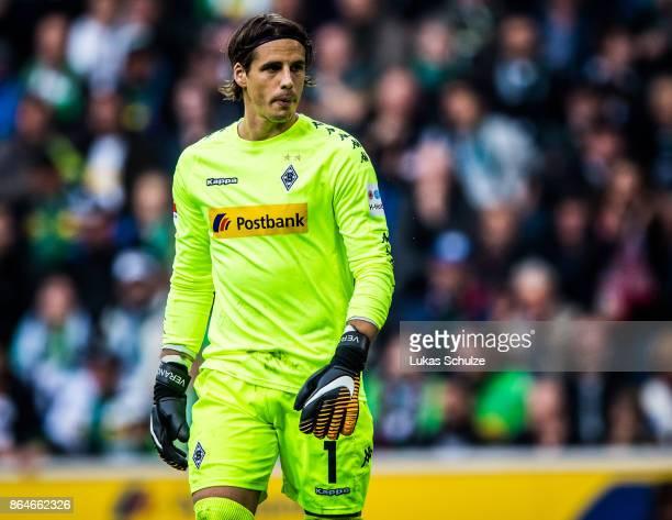 Yann Sommer of Moenchengladbach in action during the Bundesliga match between Borussia Moenchengladbach and Bayer 04 Leverkusen at BorussiaPark on...