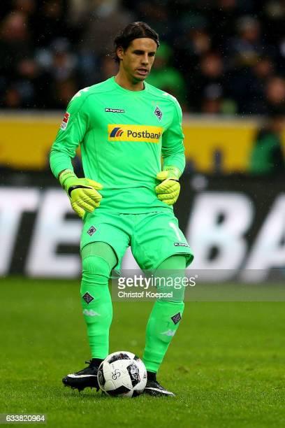 Yann Sommer of Moenchengladbach kicks the ball during the Bundesliga match between Borussia Moenchengladbach and SC Freiburg at BorussiaPark on...