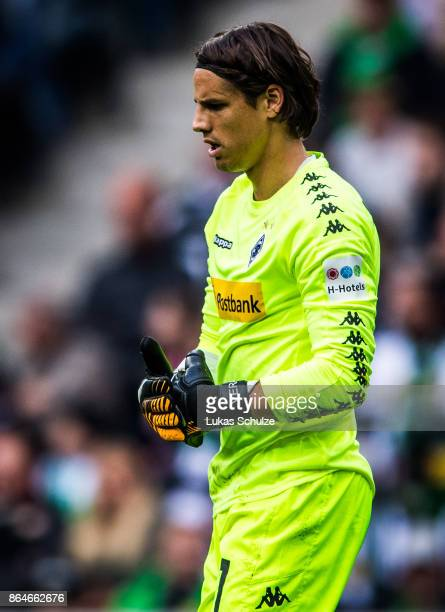 Yann Sommer of Moenchengladbach looks disappointed during the Bundesliga match between Borussia Moenchengladbach and Bayer 04 Leverkusen at...