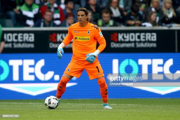 Yann Sommer of Moenchengladbach runs with the ball during the Bundesliga match between Borussia Moenchengladbach and SV Darmstadt 98 at BorussiaPark...