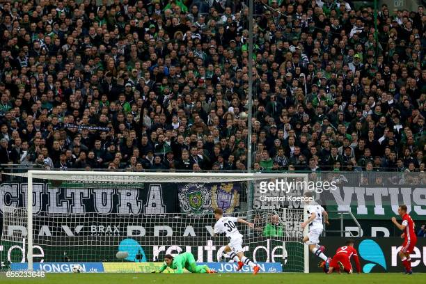 Yann Sommer of Moenchengladbach saves a ball during the Bundesliga match between Borussia Moenchengladbach and Bayern Muenchen at BorussiaPark on...