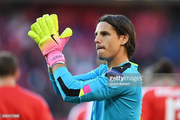 Yann Sommer of Switzerland applauds supporters during the UEFA EURO 2016 Group A match between Romania and Switzerland at Parc des Princes on June 15...