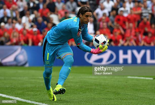 Yann Sommer of Switzerland catches the ball during the UEFA EURO 2016 Group A match between Albania and Switzerland at Stade BollaertDelelis on June...