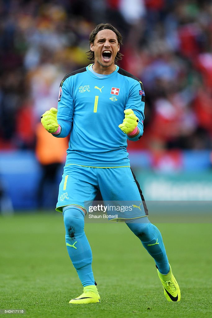 <a gi-track='captionPersonalityLinkClicked' href=/galleries/search?phrase=Yann+Sommer&family=editorial&specificpeople=5781332 ng-click='$event.stopPropagation()'>Yann Sommer</a> of Switzerland celebrates after his scored their first goal during the UEFA EURO 2016 Group A match between Romania and Switzerland at Parc des Princes on June 15, 2016 in Paris, France.