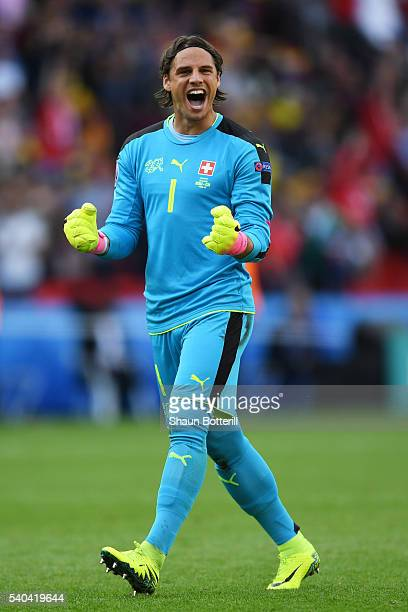 Yann Sommer of Switzerland celebrates after his scored their first goal during the UEFA EURO 2016 Group A match between Romania and Switzerland at...