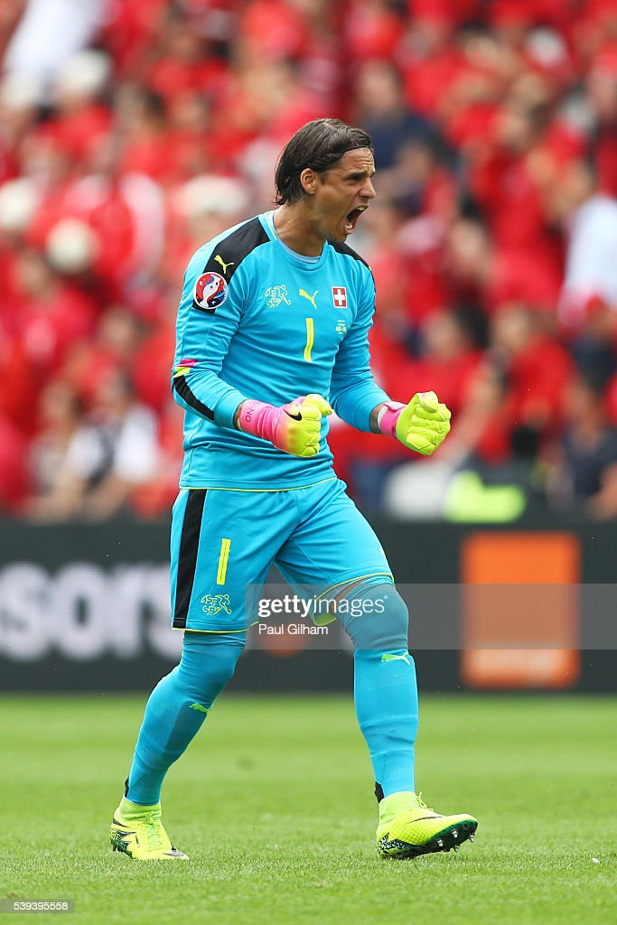 <a gi-track='captionPersonalityLinkClicked' href=/galleries/search?phrase=Yann+Sommer&family=editorial&specificpeople=5781332 ng-click='$event.stopPropagation()'>Yann Sommer</a> of Switzerland celebrates his team's first goal during the UEFA EURO 2016 Group A match between Albania and Switzerland at Stade Bollaert-Delelis on June 11, 2016 in Lens, France.