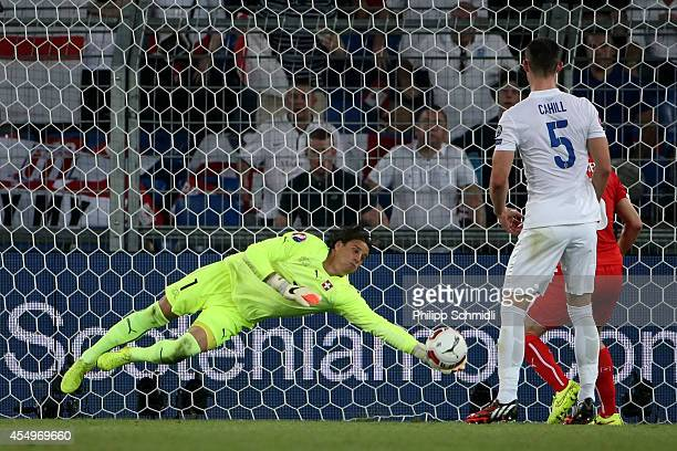 Yann Sommer of Switzerland saves the ball during the EURO 2016 Qualifier match between Switzerland and England on September 8 2014 in Basel...