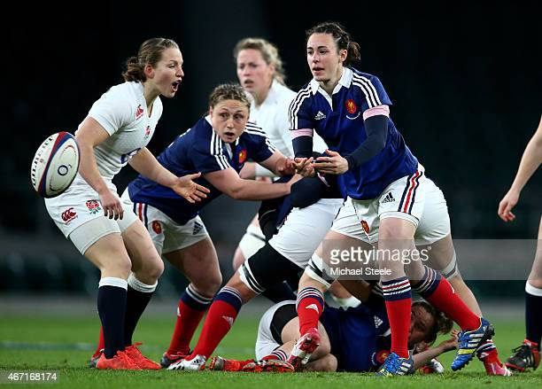 Yanna Rivolean of France passes the ball out during the Women's Six Nations match between England and France at Twickenham Stadium on March 21 2015...