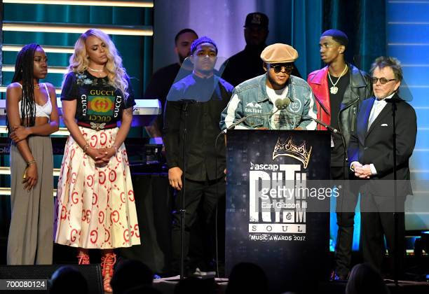 T'yanna Wallace Faith Evans Justin Combs CJ Wallace and Christian Combs accept the Founders Award on behalf of Notorious BIG from ASCAP President...