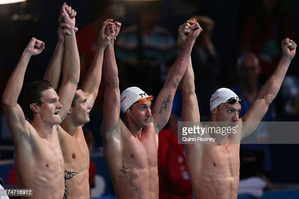 Yannick Agnel Florent Manaudou Fabien Gilot and Jeremy Stravius of France celebrate after the Swimming Men's 4x100m Freestyle on day nine of the 15th...