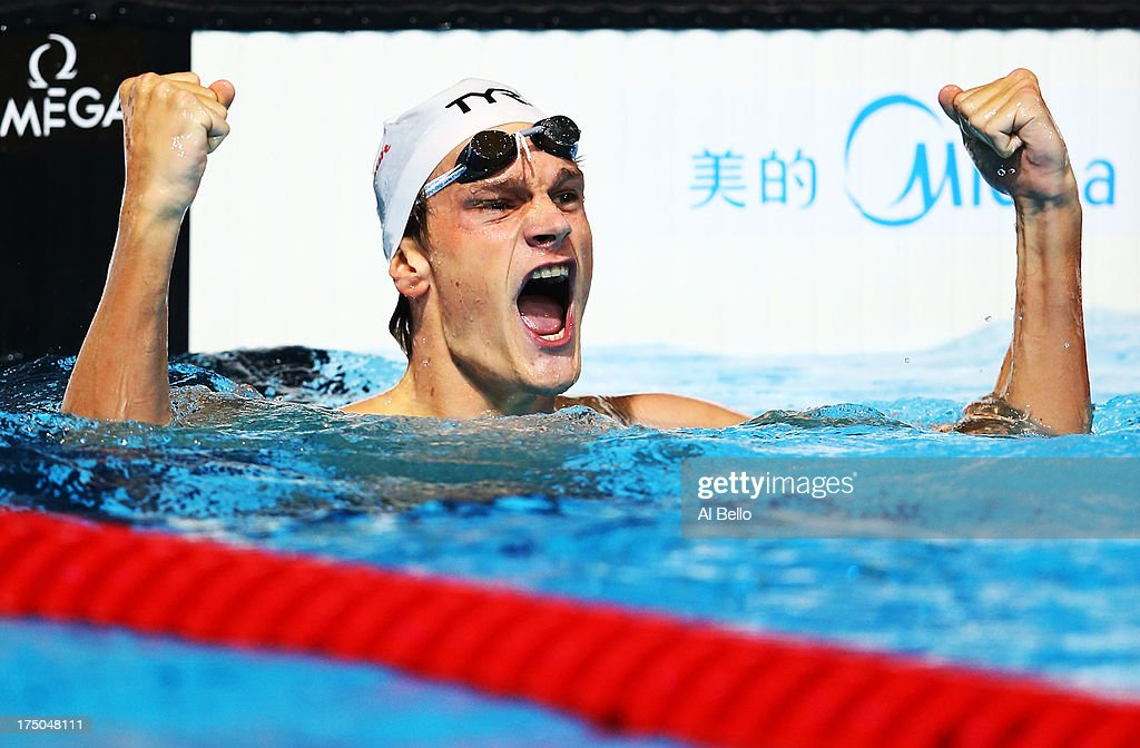 Yannick Agnel of France celebrates winning the Swimming Men's 200m Freestyle Final on day eleven of the 15th FINA World Championships at Palau Sant Jordi on July 30, 2013 in Barcelona, Spain.