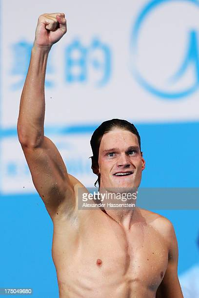 Yannick Agnel of France celebrates winning the Swimming Men's 200m Freestyle Final on day eleven of the 15th FINA World Championships at Palau Sant...