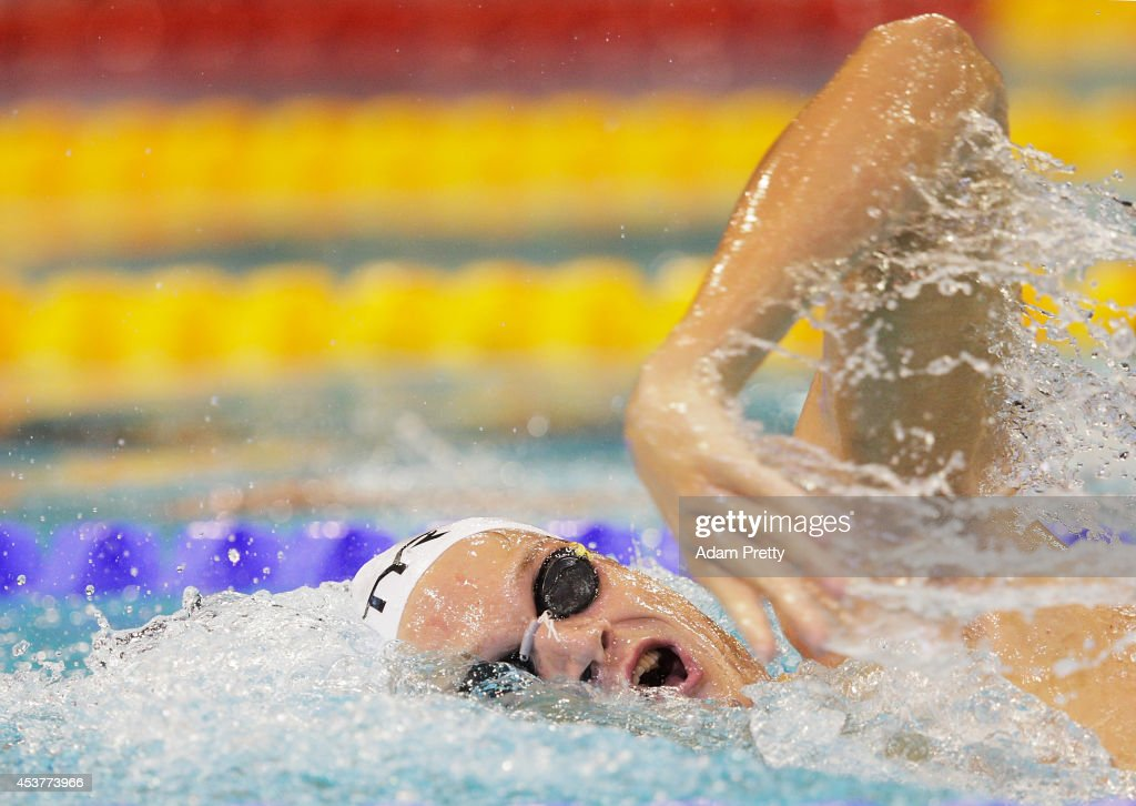 Yannick Agnel of France swims the Men's 400m Freestyle heats at Europa-Sportpark on August 18, 2014 in Berlin, Germany.