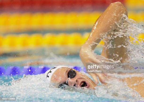 Yannick Agnel of France swims the Men's 400m Freestyle heats at EuropaSportpark on August 18 2014 in Berlin Germany