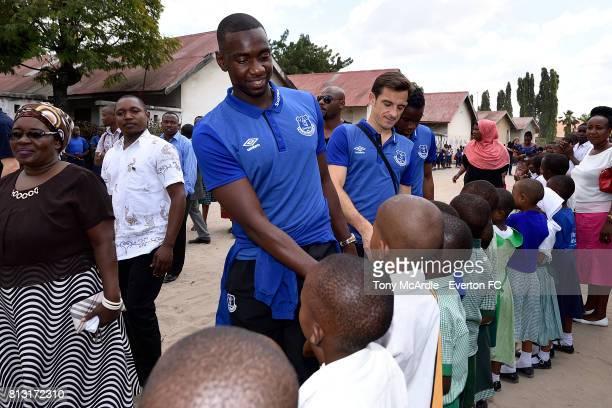 Yannick Bolasie and Leighton Baines of Everton visit Uhuru Primary School in DarEsSalaam on July 12 2017 in Dar es SalaamTanzania