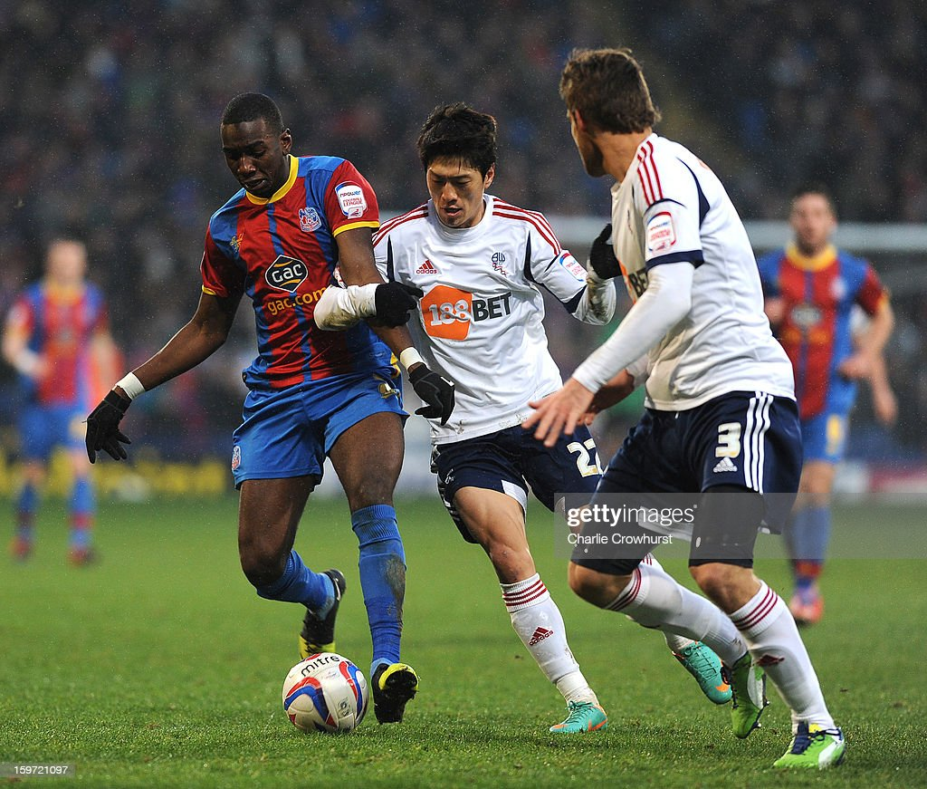 Yannick Bolasie of Crystal Palace attacks during the npower Championship match between Crystal Palace and Bolton at Selhurst Park on January 19, 2013 in London England.